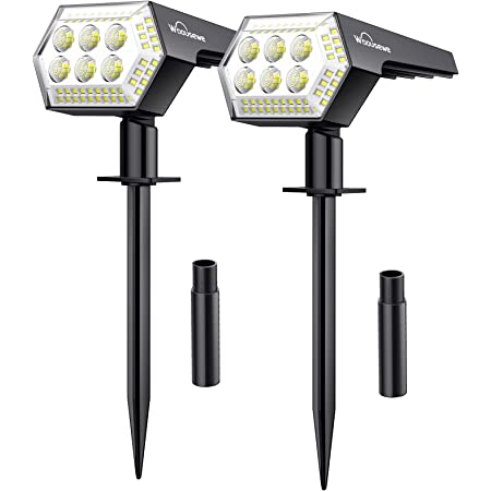 2 Pack 108 LED Spot Solaire Exterieur, Whousewe Lampes Solaires Etanche IP65 Projecteur Solaire Exterieur 4 Modes Dtecteur de Eclairage Extérieur Solaire pour Jardin, Extérieur, Chemin, Allée