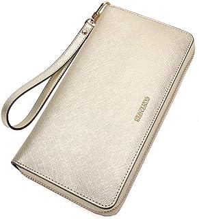LDUNDUN-BAG, 2019 Cross-Grain Leather Clutch Bag Hand Strap Multi-Function Mobile Phone Bag Wallet Purse Women's Wallet (Color : Beige, Size : S)