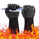 Gxhong Guanti Barbecue Guanti Forno Resistenza al Calore Fino a 800°C Guanti Cucina Fodera in Cotone Lungo Polsino Accessori BBQ Ignifughi per Griglia, Camino, Cottura Forno