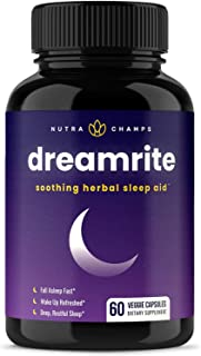 Natural Sleep Aid - Non-Habit Forming - Stress, Anxiety & Insomnia Relief Supplement - Dreamrite Herbal Sleeping Pills for...
