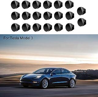 20Pcs Premium Tesla Model 3 Wheel Lug Nut Cap, Hamkaw Tesla Model 3 Accessories Black