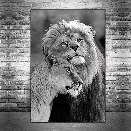 Puzzle 1000 piezas Amante del león salvaje africano arte león blanco y negro imagen de arte animal puzzle 1000 piezas animales educativo divertido juego familiar para niños ad50x75cm(20x30inch)