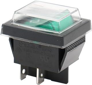 heschen Rocker Interruptor ON-OFF DPST 4terminales verde luz 16A 250VAC con funda impermeable