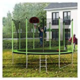 WHNB 10FT Trampoline with Basketball Hoop Inflator and Ladder(Inner Safety Enclosure) Easy Assembly Round Outdoor Recreational Trampoline Gifts for Boy and Girl - Green