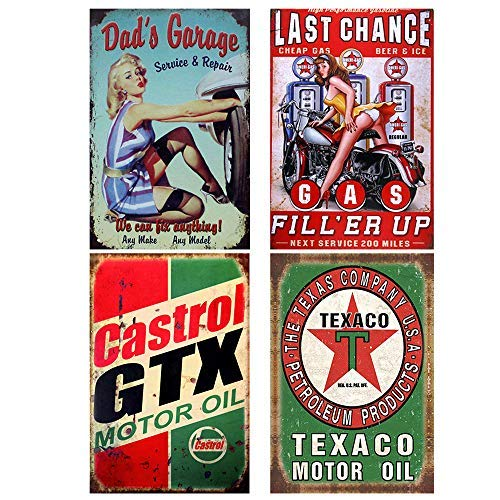 Signos de antaño estación de gas Bar Pub decoración de la pared del hogar aceite de motor cartel de metal Sky Chief Texaco gasolina 4 Uds