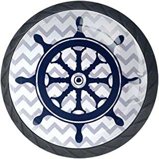 4 Pcs 35mm Nautical Blue Steering Wheel Cabinet Knobs Round Crystal Glass Drawer Handles Pull with Screws for Home, Office, Kitchen, Bathroom Cabinet, Dresser and Cupboard (1-3/8 Inches)