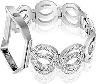 Nigaee for Fitbit Blaze Bands with Frame, Stainless Steel Replacement Band Compatible for Fitbit Blaze, Rhinestone Bling Accessories Wristband Strap for Women, Bracelet 3 Silver