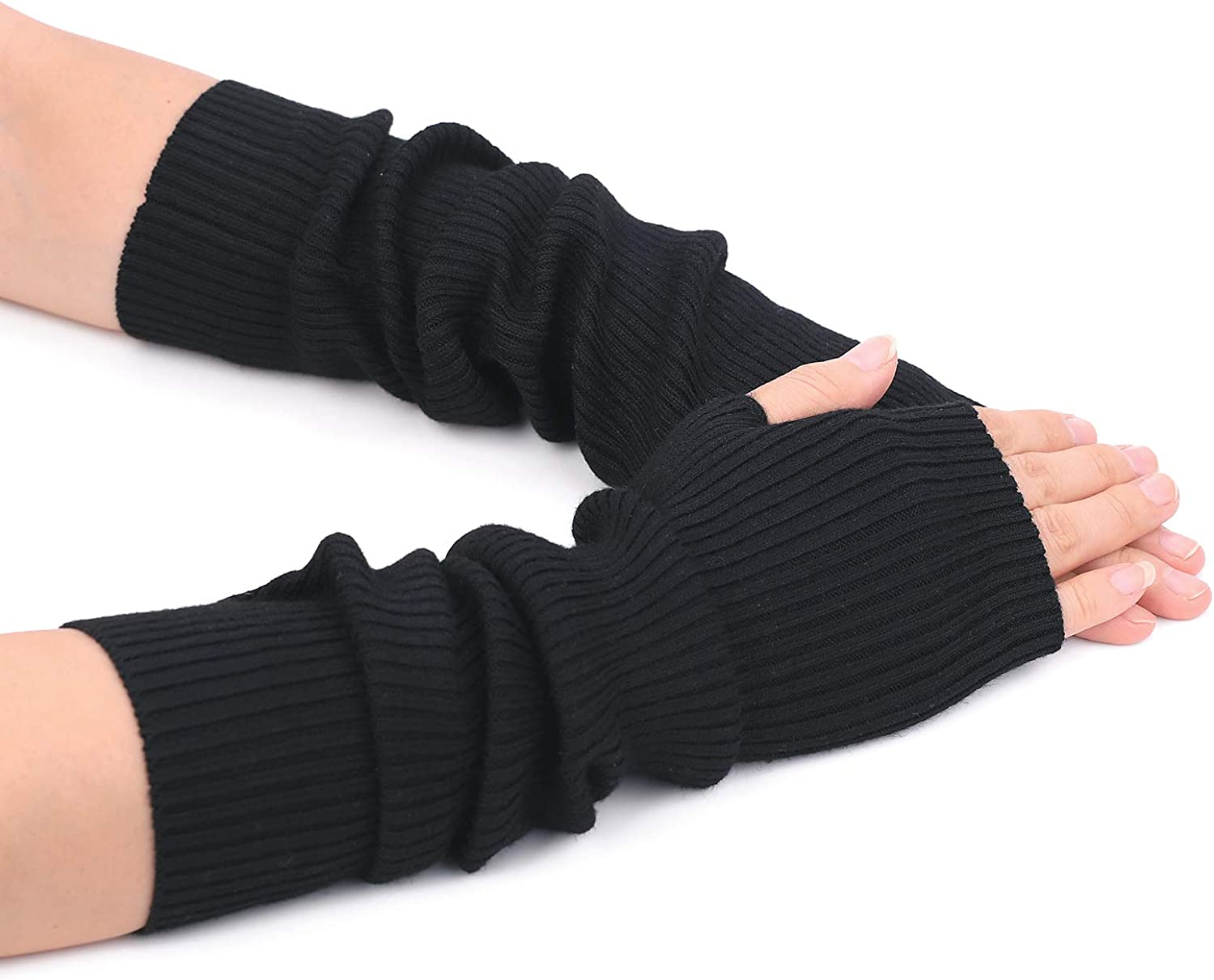 Flammi Cashmere Blend Arm Warmer Fingerless Gloves Knited Long Sleeve Mitten Gloves Wrist Warmer with Thumb Hole for Women