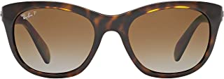 Ray-Ban RB4216 Square Sunglasses, Light Havana/Polarized Brown Gradient, 56 mm