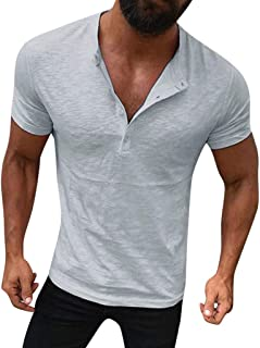 Mens Casual Solid Design Buttons Short Sleeve Shirt Top Blouse