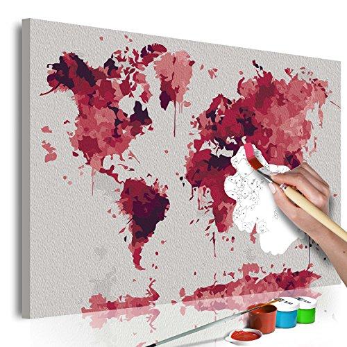 murando - Malen nach Zahlen Weltkarte 60x40 cm Malset mit Holzrahmen auf Leinwand für Erwachsene Kinder Gemälde Handgemalt Kit DIY Geschenk Dekoration n-A-0547-d-a