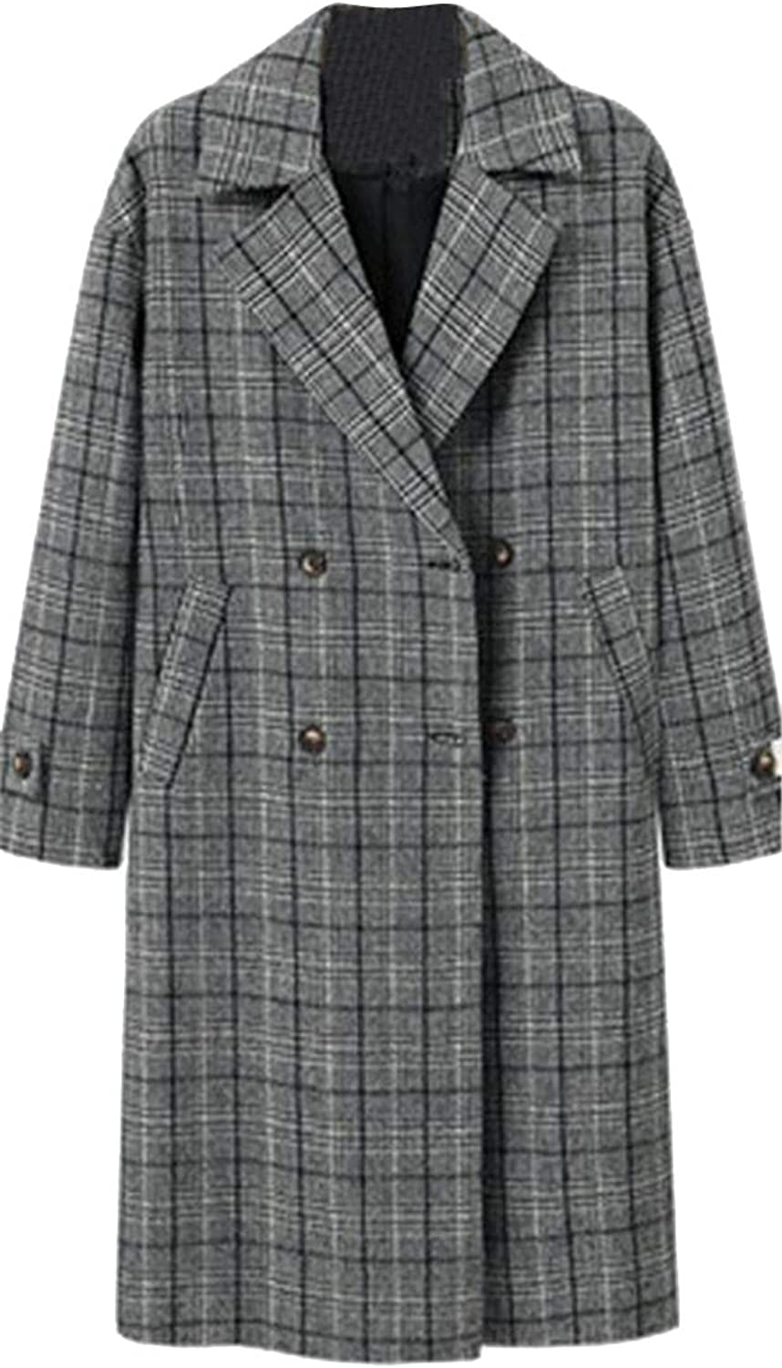 SHOWNO Womens Belted Loose Thick Plaid Double Breasted Plus Size Woolen Trench Pea Coat Overcoat