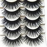 Connoworld False Eyelashes,5 Pairs Pack Black Crisscross Thick Long Flase Eye Lashes:Soft,Nature Fluffy,Fashion,Flexible Wispy False lashes,Reusable for Makeup