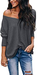 Women's Casual Off Shoulder Tops V Neck Waffle Knit Blouse Batwing Sleeve Loose Pullover Sweater