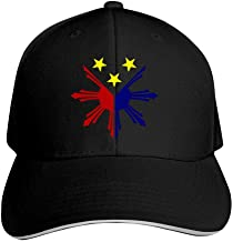 Philippine Flag Star and Sun Adjustable Baseball Cap, Old Sandwich Cap, Pointed Dad Cap