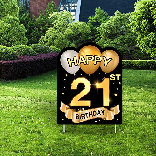 Yangmics Direct 21st Birthday 1999 - Outdoor Lawn Sign - Yard Sign - 1 Piece -Black Gold