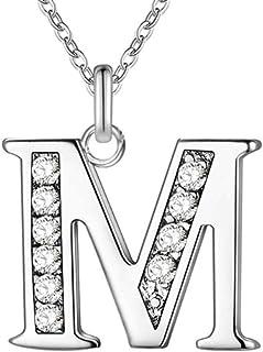 TTDAltd Collar Letra Chapado en Plata Collar Joyas de Plata Colgante de Metal-M