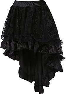 Women's Solid Color Lace Asymmetrical High Low Corset Skirt