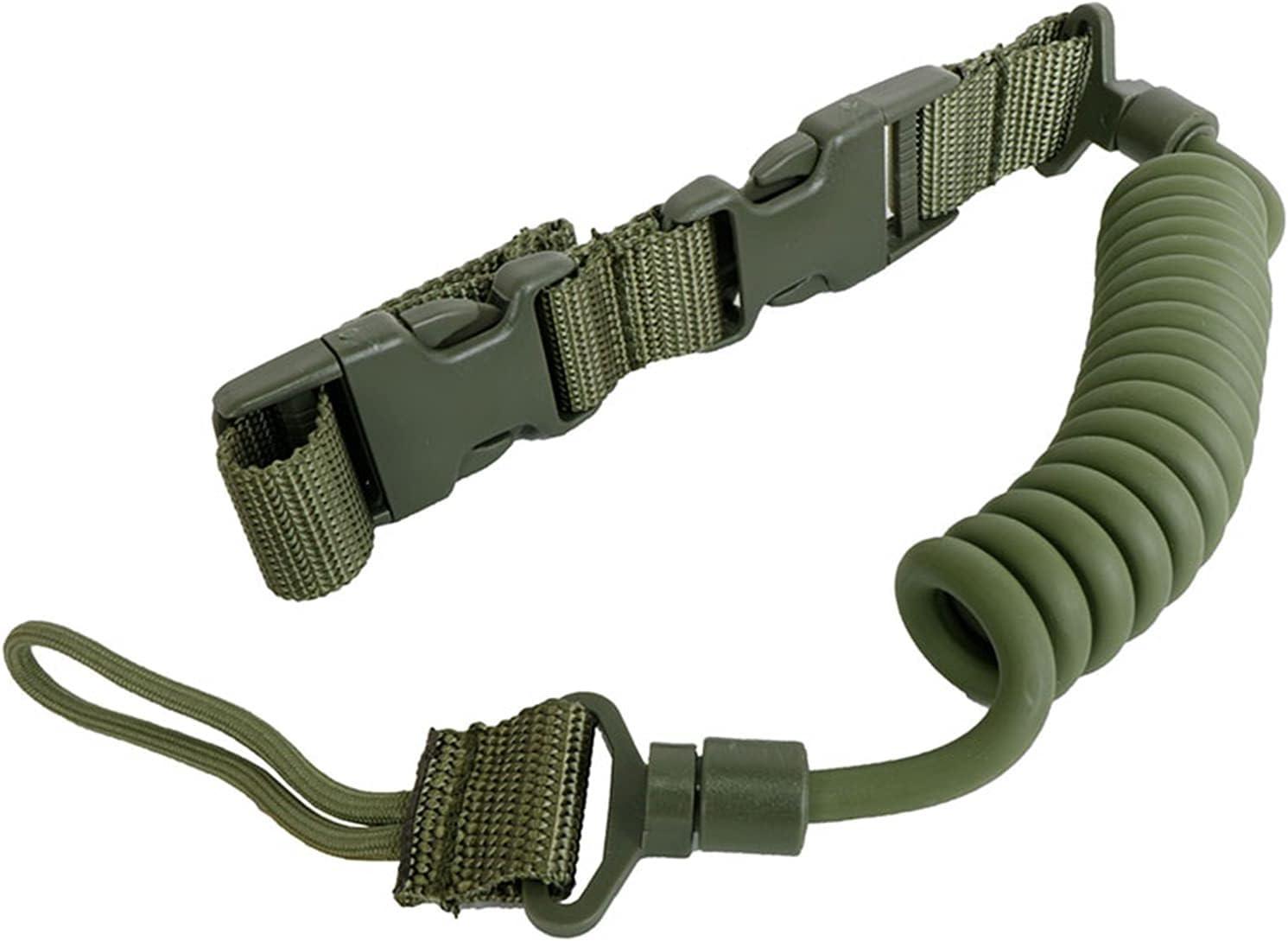 ZHANGAIGUO CCCZY Pistola telescópica Sling Bungee Airsoft Tactical Secure Lanyard Spring Pistol Hand Gun Sling Disparar Accesorios de Caza (Color : OD)