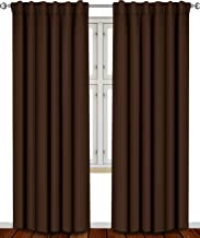 Utopia Bedding Blackout Room Darkening and Thermal Insulating Window Curtains/Panels/Drapes - 2 Panels Set - 7 Back Loops per Panel - 2 Tie Backs Included (Chocolate, 52 x 84)
