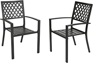 Ulax Furniture Outdoor Patio Dining Arm Chairs Steel Slat Seat Stacking Garden Chair (Set of 2)