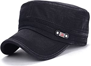 ChezAbbey Adjustable Flat Top Cap Solid Brim Army Cadet Style Military Hat