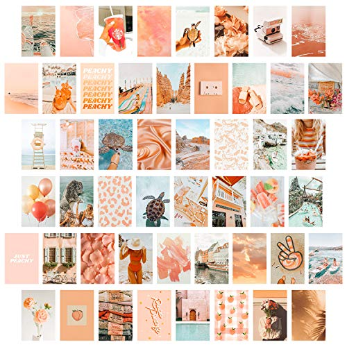 CY2SIDE 50PCS Peach Beach Aesthetic Picture for Wall Collage, 50 Set 4x6 inch, Boho Style Collage Print Kit, Teal Color Room Decor for Girls, Wall Art Print for Room, Dorm Photo Display, VSCO Posters