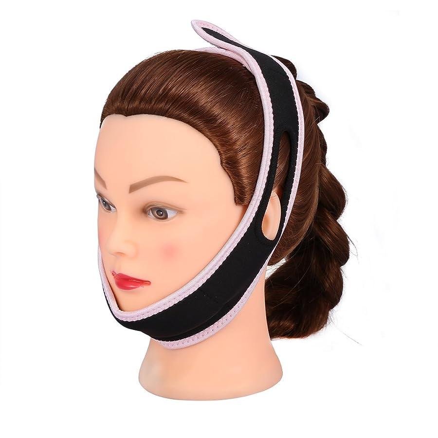 焦がすラダ適度な顔の包帯フェイシャルスリミングマスクナイロン&ポリエステルフェイスケアのための薄い首の顔リフトダブルチン女性、黒