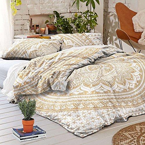 Gold Farbe indischen Ombre Bohemian Mandala Bettbezug Bettwäsche Donna Bezug mit 2Kissen schönen Exklusiv von Sophia Art, baumwolle, goldfarben, Einzelbett