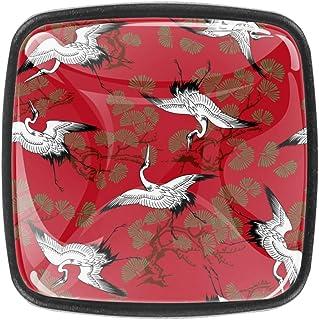 Pomo de cajón con diseño de grúas japonesas y hojas de cedro 4 unidades con tornillos para el hogar oficina aparador ...