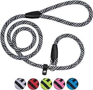 BRONZEDOG Dog Slip Lead 4ft Pet Rope Training Leash for Medium Large Dogs Black Blue Pink Grey Green Red
