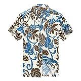 Hecho en Hawaii Camisa Hawaiana de los Hombres Camisa Hawaiana 4XL Totem Hoja Allover en Azul...