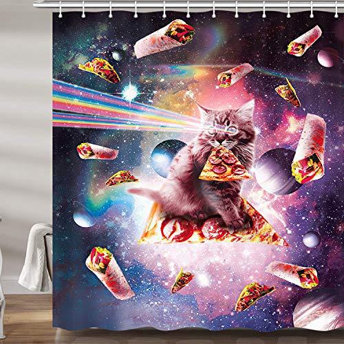 Lustige Katzen-Duschvorhänge für Badezimmer, bunte Galaxie, Stoff-Duschvorhang-Set für Mann, lustiges Regenbogen-Pizza-Bad-Zubehör, inklusive Haken (175,3 cm B x 182,9 cm H)