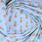 Stoff Kinderstoff Baumwolle hellblau Ananas Baumwollstoff