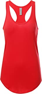 Women's Basic Solid Jersey Racer Back Tank Top with Scallop Bottom