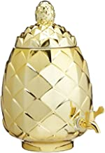 BarCraft Metallic Gold Pineapple Shaped Glass Drinks Cocktail Dispenser