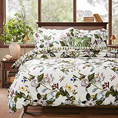 FADFAY Vintage Green Leaves and White Jasmine Summer Hawaiian Style Cotton Duvet Cover Set Floral Printed Bedding King Size 3-Pieces