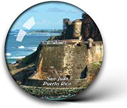 Jollin San Juan National Historic Site Puerto Rico Fridge Magnets Clear Crystal Glass for Refrigerator City Travel Souvenirs Funny Whiteboard Home Decorative Sticker Collection Gifts Round Magnet