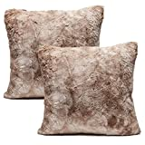 Chanasya Super Soft Fuzzy Faux Fur Cozy Warm Fluffy Beige Fur Throw Pillow Cover Pillow Sham - Beige Brown Pillow Sham 18x18 Inches(Pillow Insert Not Included) Waivy Fur Pattern 2-Pack
