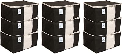 Kuber Industries 9 Piece Non Woven Saree Cover Set, Black