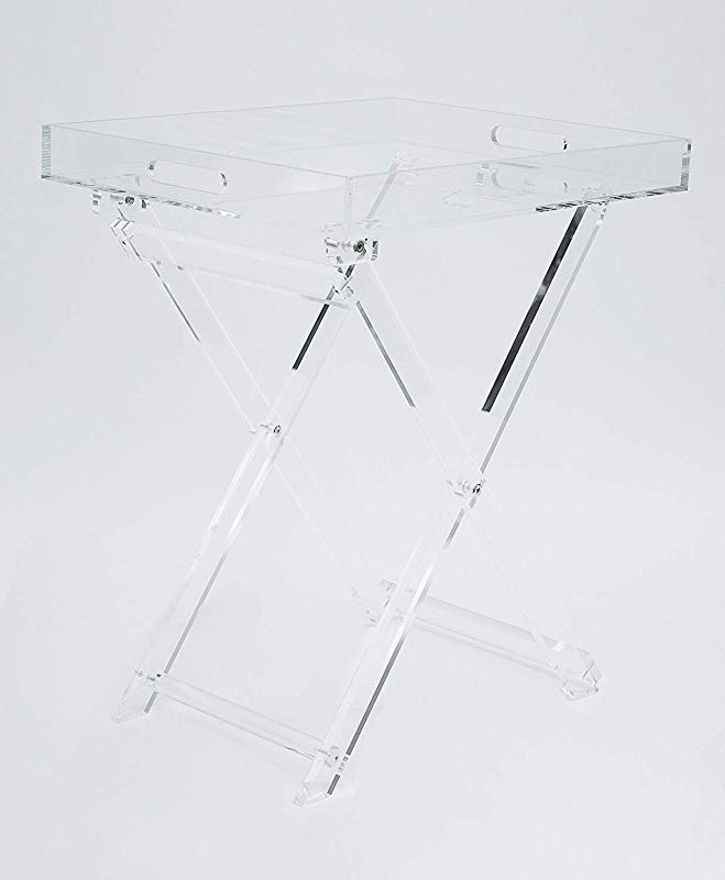 Acrylic Folding Tray Table Modern Chic Accent Desk Kitchen And Bar Serving Table Elegant Clear Design By Designstyles