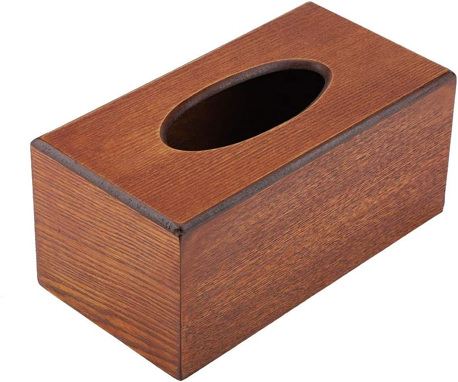 Agatige Tissue Box Cover Rectangular Natural Tissue Holder for Living Room Bedroom Kitchen Black