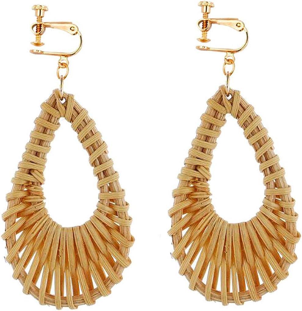 Teardrop Rattan Clip on Earrings Dangle Handmade Straw Wicker Braid Non-Pierced Jewelry for Women Girls
