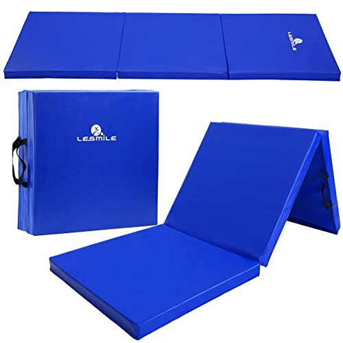 LESMILE Gymnastic Mats Waterproof PU Leather Thick Folding Exercise Gym Mats Tumbling Mats with Carrying Handles
