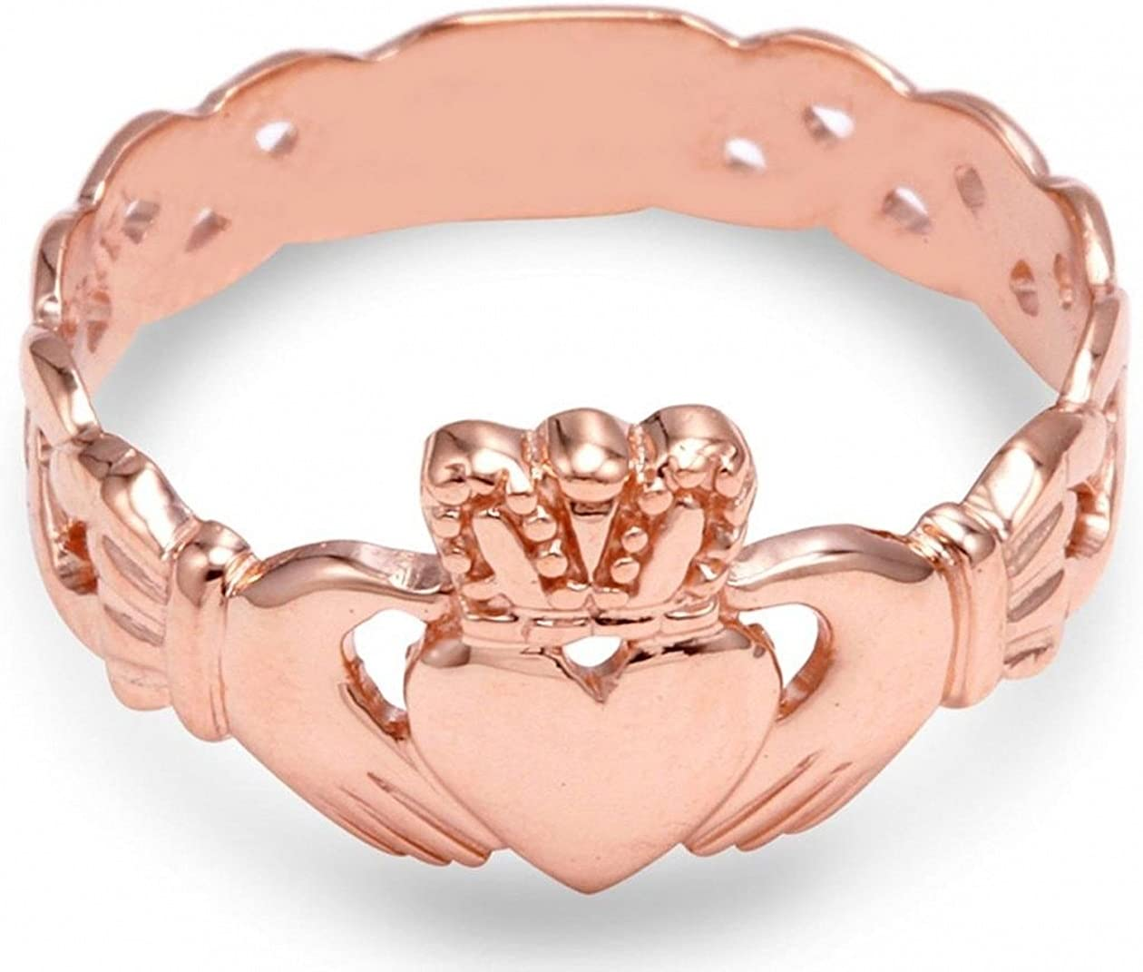 Claddagh Rings Ladies 14k Rose Gold with Trinity Band