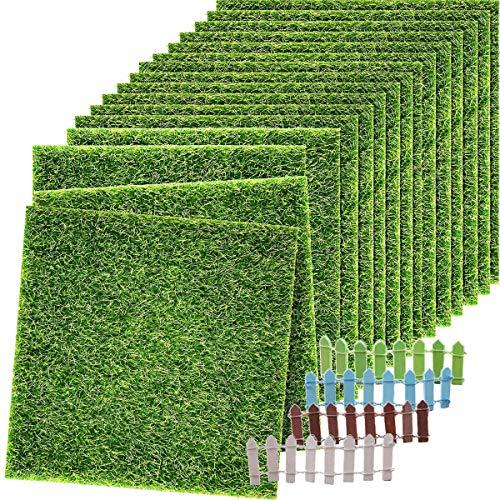 Binjor 14Pcs Kunstrasen Miniatur Kunststoff Kunstmoos 15 * 15CM DIY Garten Balkon Verzierung Simulation Gefälschte Rasen Holzzaun Miniatur zum Indoor Micro Landschaft Ornament