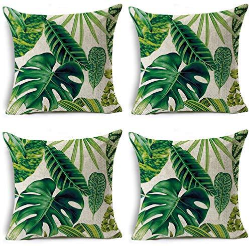 JgZATOA Green Palm Leaf PillowCaseCoverCushionHomeBedroomSofaCushionCoverCarDecor45X45CmSetOf4