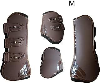 MOOUK 4 Piezas Pata de Caballo Neopreno Botas, Cuero Sintético Envoltura para Pierna Ajustable Delantero Posterior Botas Equino Protector Ecuestre Tendón Protección Jarrete Tirantes