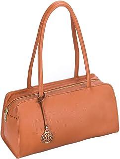 Leather Satchel Handbag for Women Purses and Handbags Top Handle Small Tote Shoulder Bag Brown Pebble Leather