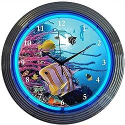 Neonetics Bar and Game Room Aquarium Neon Wall Clock, 15-Inch
